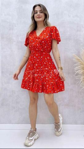 Eteği Volanlı Kruvaze Elbise - Kırmızı