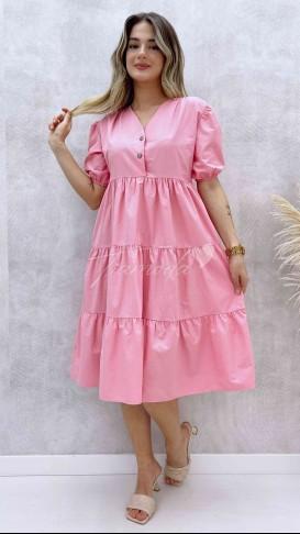 Yaka Çıtçıt Poplin Elbise - Pembe