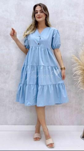 Yaka Çıtçıt Poplin Elbise - Bebe Mavi
