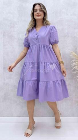 Yaka Çıtçıt Poplin Elbise - Lila