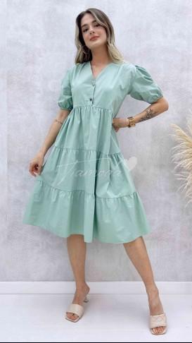 Yaka Çıtçıt Poplin Elbise - Su Yeşili