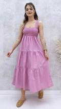 Askılı Poplin Elbise - Gül Kurusu