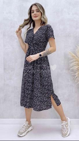 Beli Kuşaklı Düğmeli Elbise - Siyah