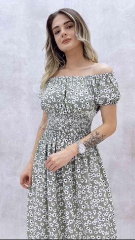 Carmen Yaka Beli Gipeli Elbise - Mint
