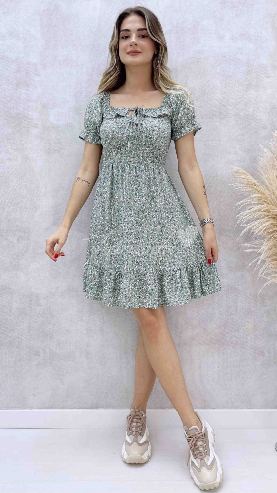 Gipeli Yaka Bağcıklı Elbise - Mint Yeşil
