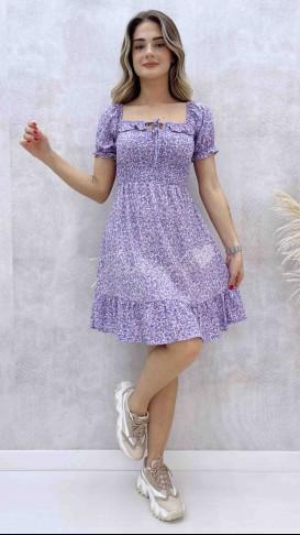 Gipeli Yaka Bağcıklı Elbise - Lila
