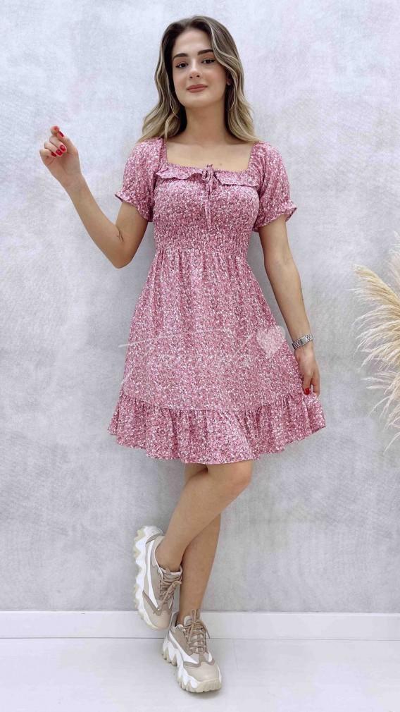 Gipeli Yaka Bağcıklı Elbise - Pembe