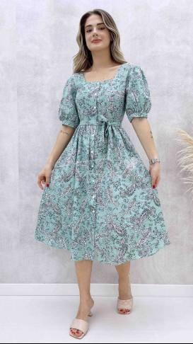 Kare Yaka Poplin Elbise - Yeşil