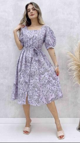 Kare Yaka Poplin Elbise - Lila