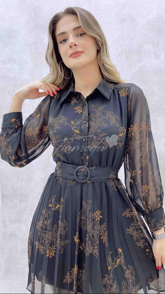 Gömlek Yaka Piliseli Şifon Elbise