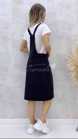 Denim Salopet Elbise - Siyah