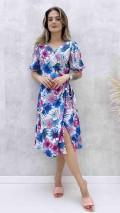 İri Çiçekli Anvelop Elbise - Lila