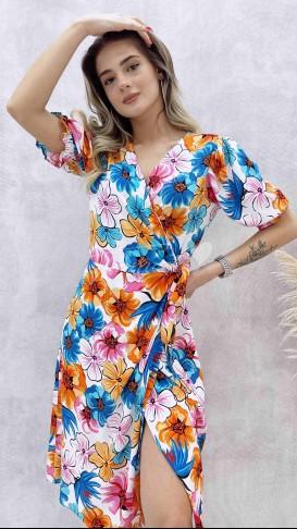 İri Çiçekli Anvelop Elbise - Turuncu