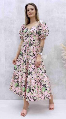 Kalp Yaka Desenli Elbise - Pudra