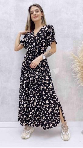 Kol Volanlı Maksi Elbise - Siyah