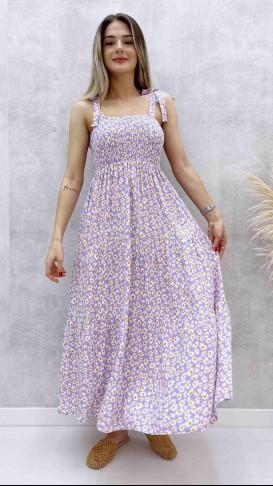 Omuz Bağlamalı Papatya Elbise - Lila