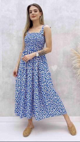 Omuz Bağlamalı Papatya Elbise - Mavi