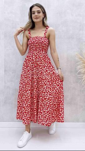 Omuz Bağlamalı Papatya Elbise - Kırmızı