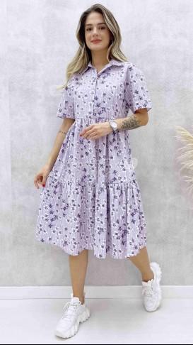 Gömlek Yaka Poplin Elbise - Lila