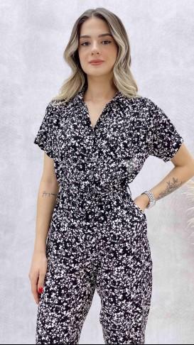 Gömlek Yaka Düğmeli Tulum - Siyah