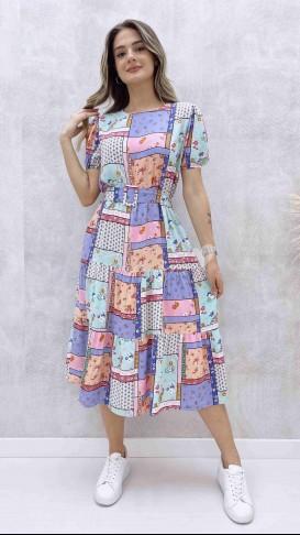 Kendinden Kemerli Yama Desen Elbise