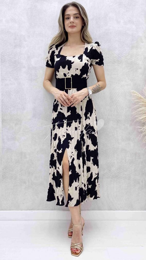 Süet Kemerli Cow Elbise