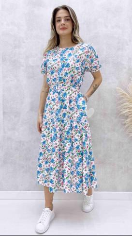 Kendinden Kemerli Çiçekli Elbise