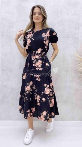Kendinden Kemerli Çiçekli Elbise - Siyah