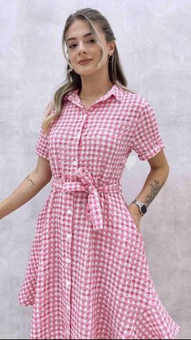 Gömlek Yaka Pötikareli Elbise - Pembe