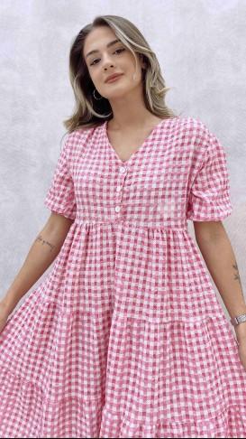 Üç Düğmeli Pötikareli Elbise - Pembe
