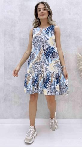 Yaprak Desen Kolsuz Elbise - Mavi