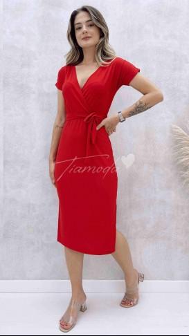 Kruvaze Yaka Penye Elbise - Kırmızı