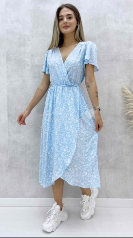 Beyaz Çiçekli Anvelop Elbise - Bebe Mavi