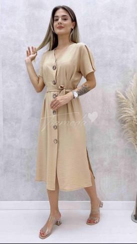 İri Düğmeli Kuşaklı Elbise - Bej