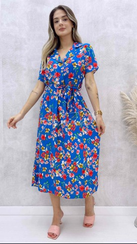 Üç Düğmeli Viskon Elbise - Mavi