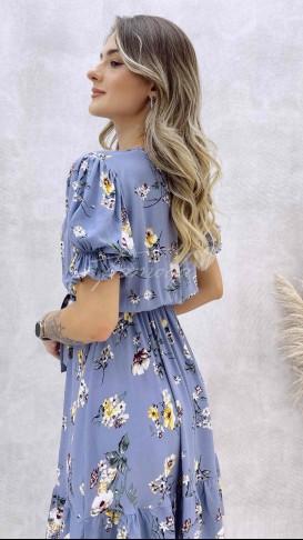 Çiçek Desenli Kruvaze Elbise