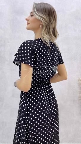 Volanlı Kruvaze Yaka Elbise - Siyah