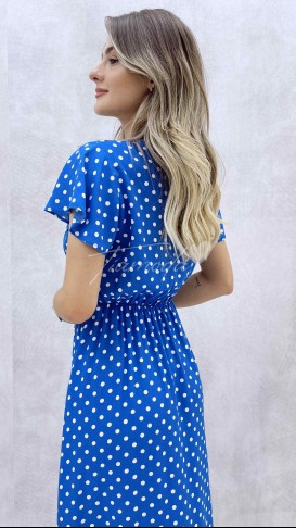 Volanlı Kruvaze Yaka Elbise - Mavi