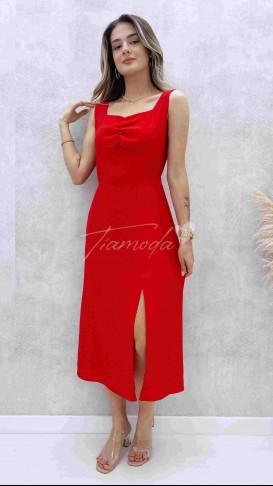 Göğüs Büzgülü Askılı Elbise - Kırmızı