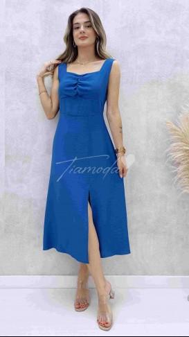 Göğüs Büzgülü Askılı Elbise - Mavi