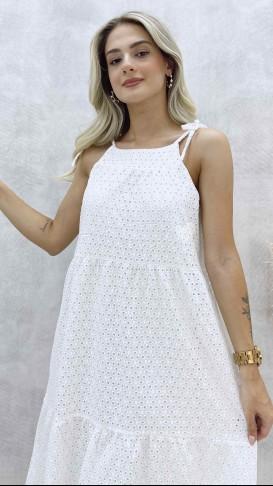 Halter Yaka Fisto Elbise - Beyaz