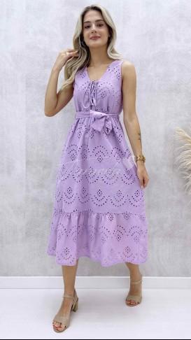 Yaka Bağcıklı Fisto Elbise - Lila