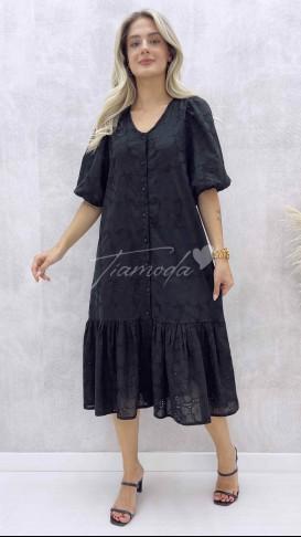 Boydan Düğmeli Fisto Elbise - Siyah