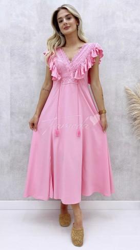 Güpürlü Elbise - Pembe