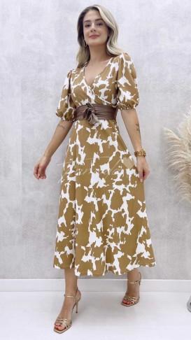 Cow Desen Kuşaklı Elbise - Bej