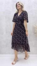 Kruvaze Şifon Elbise - Siyah