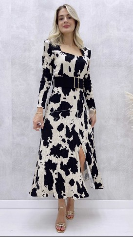 Uzun Kol Süet Kemerli Cow Elbise