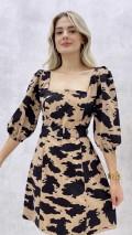 Kare Yaka Kemerli Mini Elbise