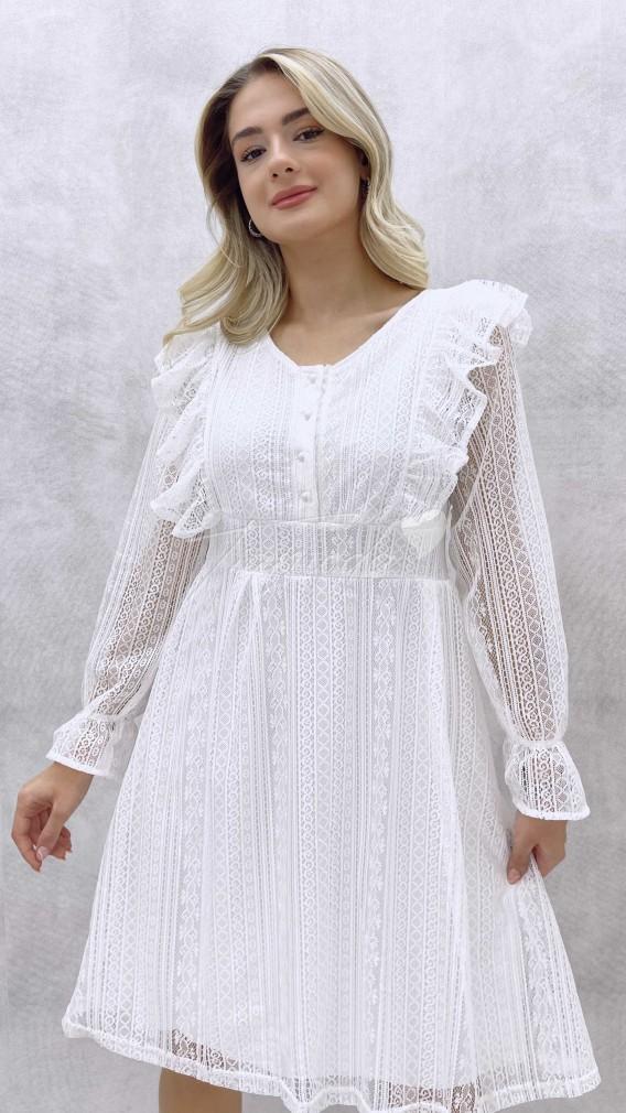Fırfırlı Güpür Elbise - Beyaz