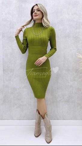 Korse Detay Fitilli Elbise - Yeşil